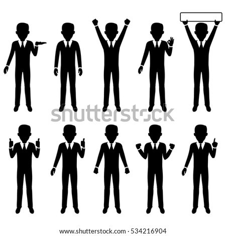 Business man character silhouette set, isolated, vector illustration