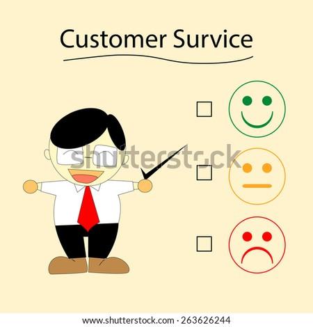 Business man choose customer service survey - stock vector