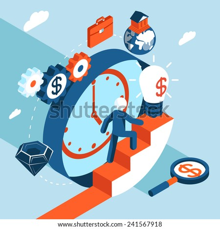 Business man climbs the stairs to financial success. Business concept, goals and towards success Vector illustration - stock vector