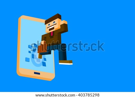 Business Man Come Out Off Cell Smart Phone Screen Social Network Communication Concept 3d Isometric Flat Design Vector Illustration - stock vector