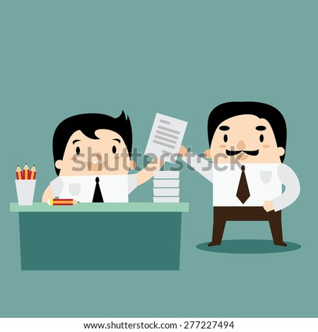 Business man complete the great work to manager - stock vector