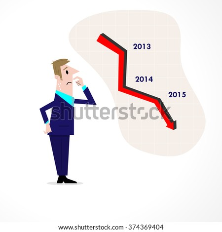 Business man confused stock market arrow.Sad businessman with graph indicating a regression. The concept of business failure, bankruptcy. Vector illustration - stock vector