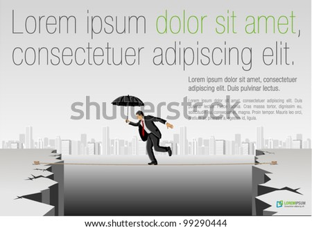 Business man crossing abyss on a high tightrope holding umbrella - stock vector
