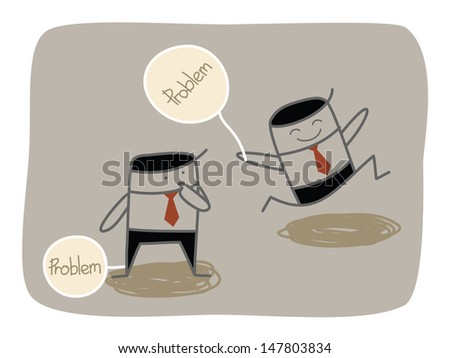 business man dealing with problem  - stock vector