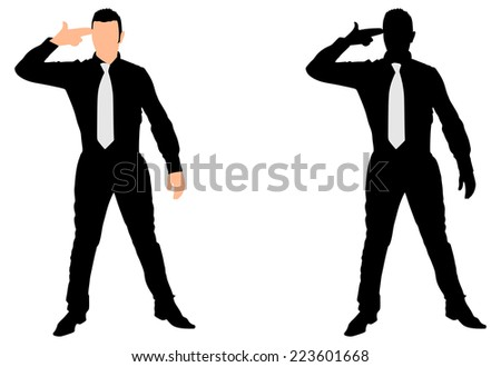 Business man despair suicide behavior, vector - stock vector