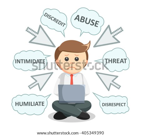Business man digital bullying text - stock vector