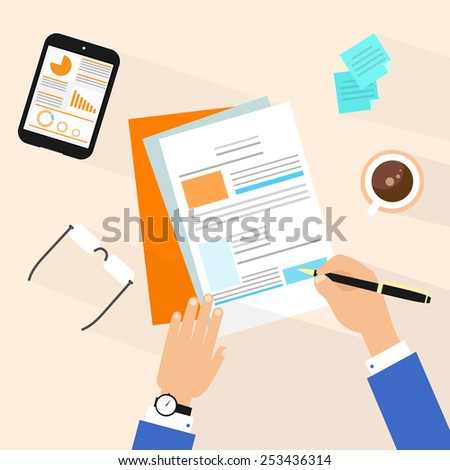 Business man document signing up contract agreement, Businessman workplace top angle above view sitting at office desk work vector illustration - stock vector
