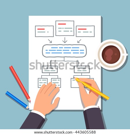 Business man drawing a block diagram plan while drinking his coffee. Strategic planning of business process. Flat style vector illustration. - stock vector