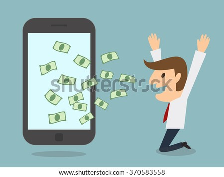 business man earn money from smart phone online business concept - stock vector