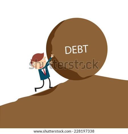 Business man feel easy to push big debt. Business concept on debt,vector,illustrator. - stock vector