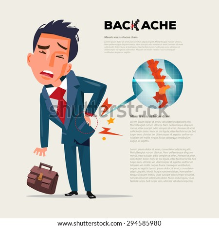 business man feeling pain in back. Businessman suffering from back pain with film x-ray inside. character design - vector illustration - stock vector