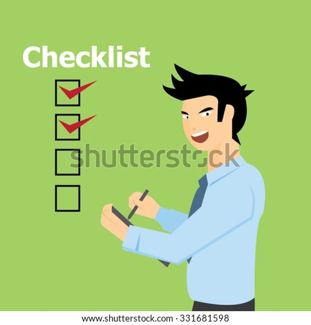 Business man filling checklist -vector