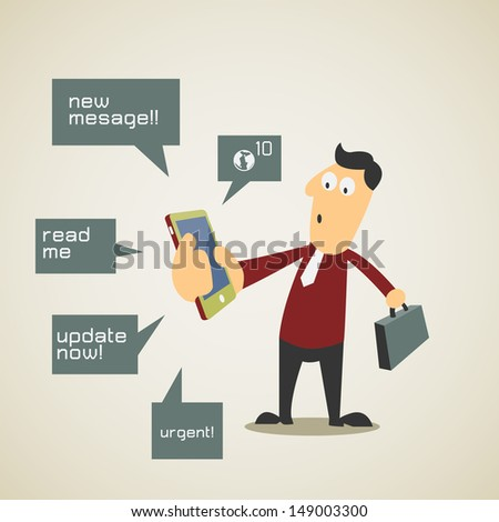 Business man find himself busy with a lot notification from smart phone. Vector illustration. - stock vector