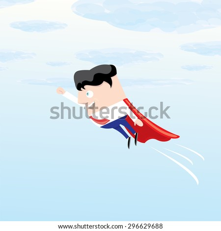 business man flying. vector illustration. Businessman is superhero - stock vector