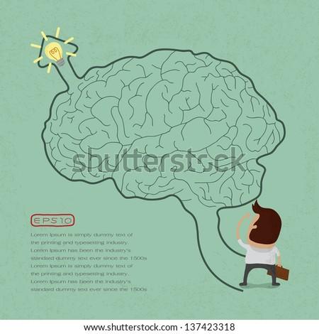 Business man go to brain maze , eps10 vector format - stock vector