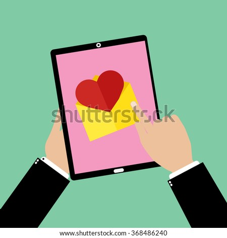 Business man hand holding a tablet smartphone with point and touching an love email. Vector illustration flat design valentine day love concept.  - stock vector