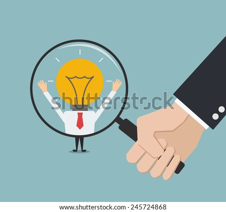 business man hand holding magnifying glass for search a creative man. Recruitment or selection concept. - stock vector