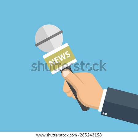 Business man hand holding microphone - Flat style - stock vector