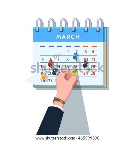 business man hand sticking push pin stock vector 465599390