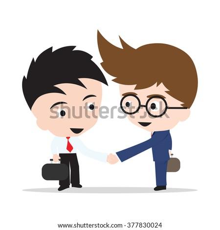 Business man handshake on white background, illustration vector in flat design - stock vector