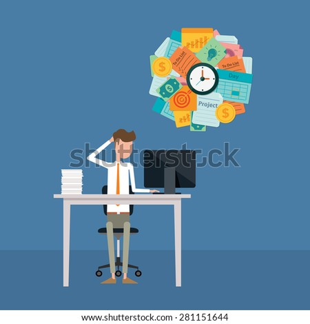 business man hard working and busy on work pressing concept - stock vector