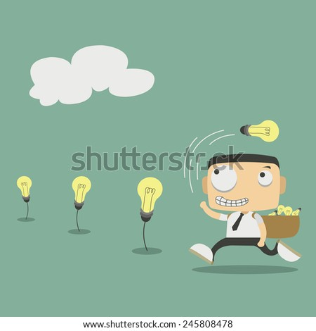 Business man harvest of thought - stock vector