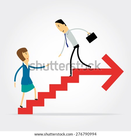 Business man helping business woman to climb up  the stairs to succeed
