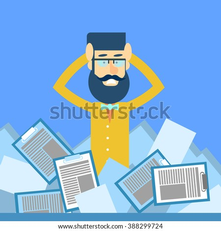 Business Man Hold Head Documents Paperwork Problem Concept Flat Vector Illustration - stock vector