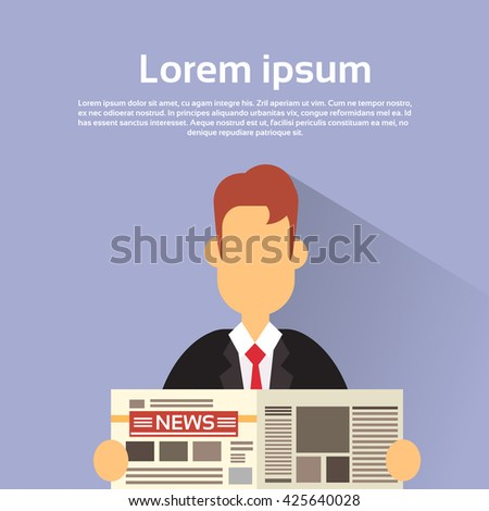 Business Man Hold News Paper Read Newspaper Vector Illustration - stock vector
