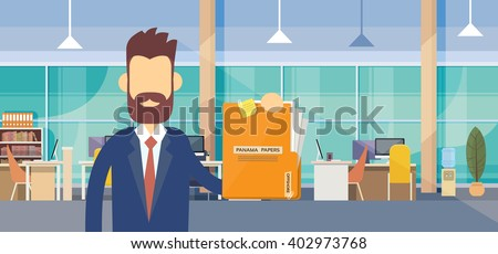 Business Man Hold Panama Papers Folder Office Interior Flat Vector Illustration - stock vector