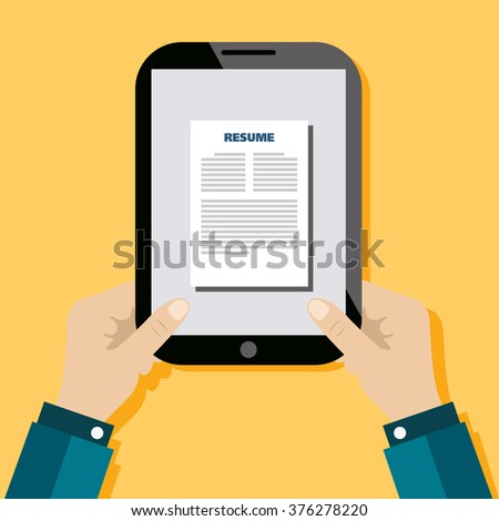 Business man hold tablet with resume on yellow background vector.
