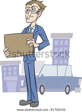 Business man holding blank cardboard sign