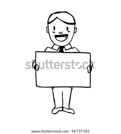 business man holding blank paper - vector illustration - stock vector