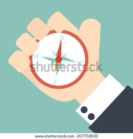 Business man holding compass - stock vector