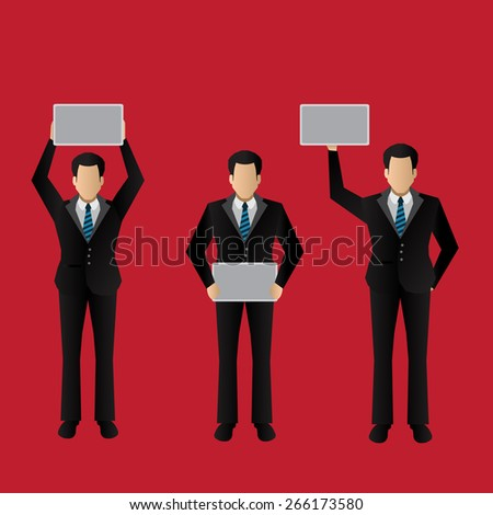 Business man holding empty white board - stock vector