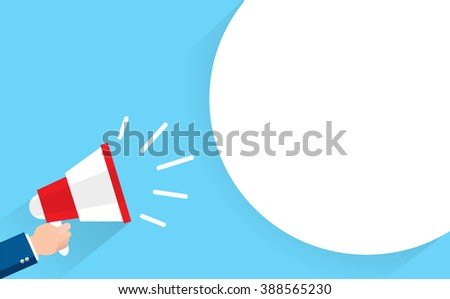 business man holding megaphone with bubble speech - stock vector