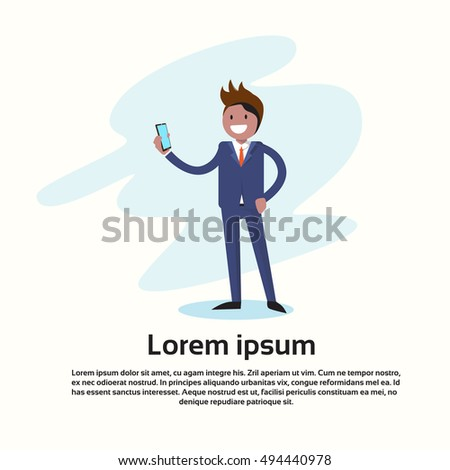 Business Man Holding Mobile Phone Call, Using Cellphone Flat Vector Illustration