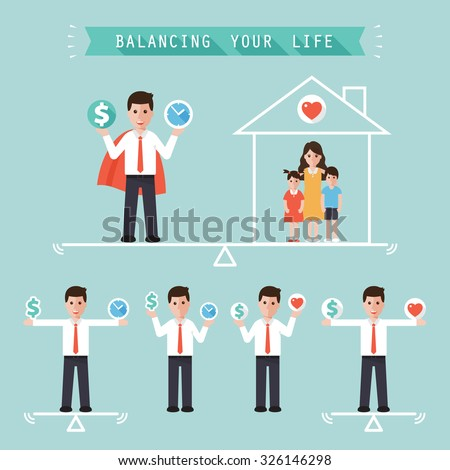 Business man holding money dollar sign and time balancing with family at home. Idea balance your life business concept. Flat design people characters. - stock vector