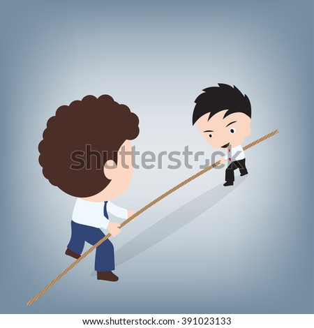 Business man holding on lead for Business competition concept, illustration vector in flat design