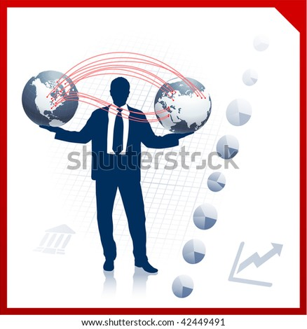 Business man holding two globes