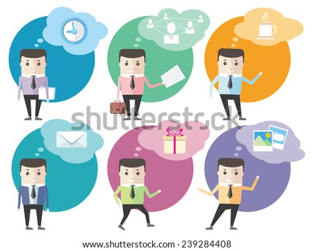 Business man icons with dialog bubbles isolated on white - stock vector