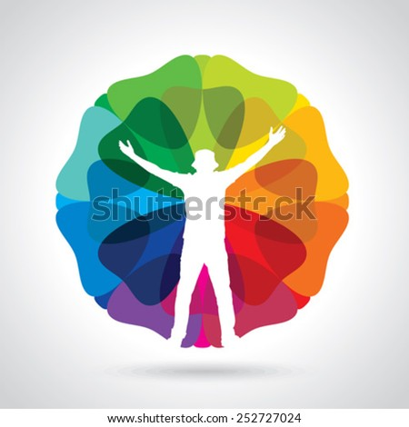 business man illustration silhouette with his arms up enjoying his success isolated over a colorful background - stock vector