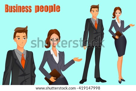 Business man in a suit with orange tie and business women with brown hair. VECTOR illustration on light blue background.  - stock vector