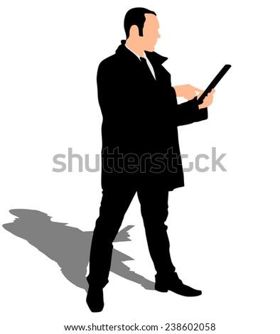 business man in coat walking touchscreen digital tablet, vector  - stock vector