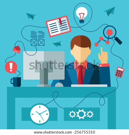 business man in formal suit sitting at the desk and working on computer in the office. flat style - stock vector