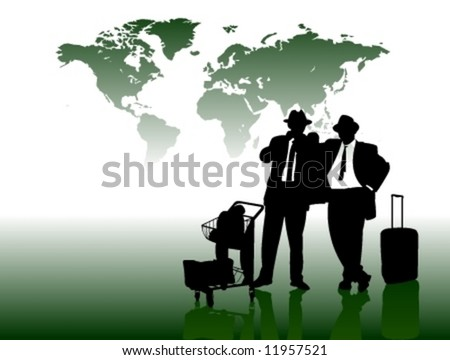 Business Man in front of World Map - stock vector