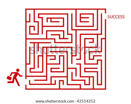 Business man in maze concept vector - stock vector