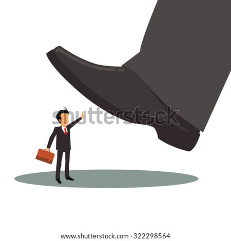 Business man in suit and with suitcase is oppressed by big corporation foot. Corporate depression concept. Flat style vector illustration isolated on white background. - stock vector