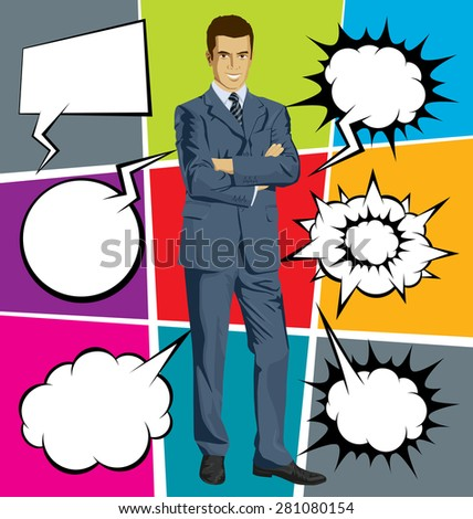 business man in suit, looking on camera, with folded hands, with speech and thought bubbles - stock vector