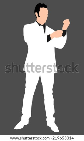 business man in white suit  buttoning his sleeve and getting ready to work, vector  - stock vector